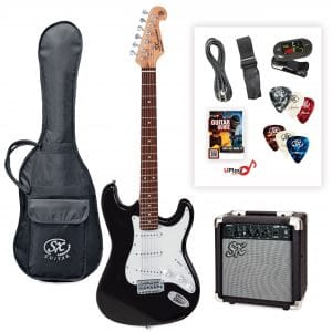 SX SE1SK 4/4 Electric Guitar Package in Black