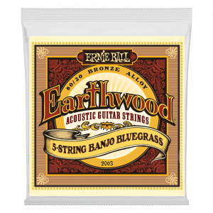Ernie Ball Earthwood 5-String Banjo Bluegrass Loop End 80/20 Bronze Acoustic Guitar Strings