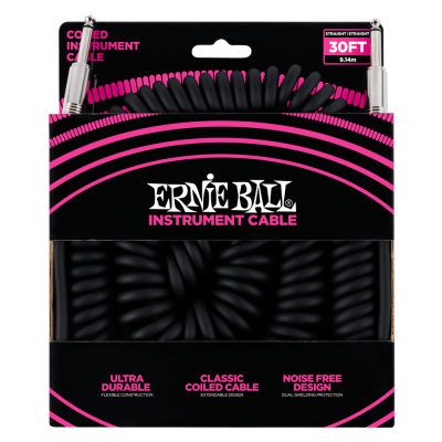 Ernie Ball Coiled Straight Instrument Cable, 9 Meters Length, Black