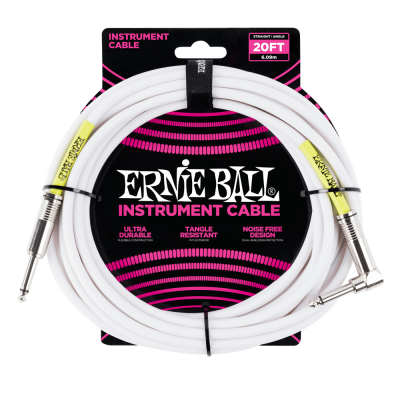 Ernie Ball 6 MetersStraight / Angle Instrument Cable, White