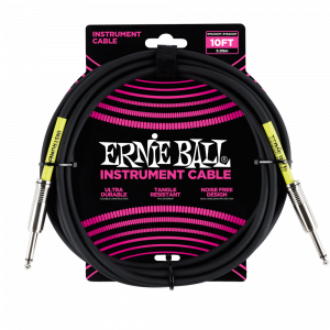 Ernie Ball 3 Meters Straight / Straight Instrument Cable, Black