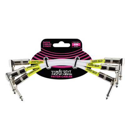 Ernie Ball Angle Patch Cable 3 Pack, White, 15cm Length