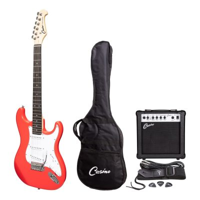 Casino ST-Style Electric Guitar and 10 Watt Amplifier Pack (Hot Lips Pink)
