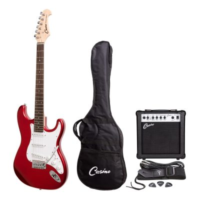 Casino ST-Style Electric Guitar and 15 Watt Amplifier Pack (Candy Apple Red)